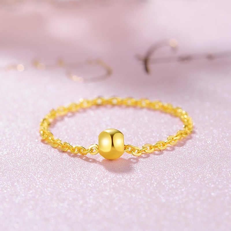 Lucky Ball 18K настоящая Желтая роза твердая золотая цепочка кольцо для женщин Женская Девушка Необычные высококлассные модные ювелирные изделия