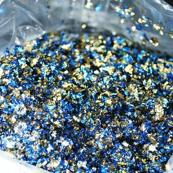 Imitation Gold Leaf Fragment Double-side Blue-Golden Foil 75g for Nail Art,Arts&crafts, Home Improvement, Decoration