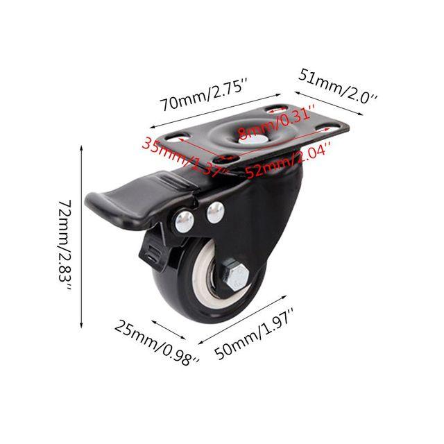 4 шт сверхмощные плоские нижние колесики с тормозной поворотной