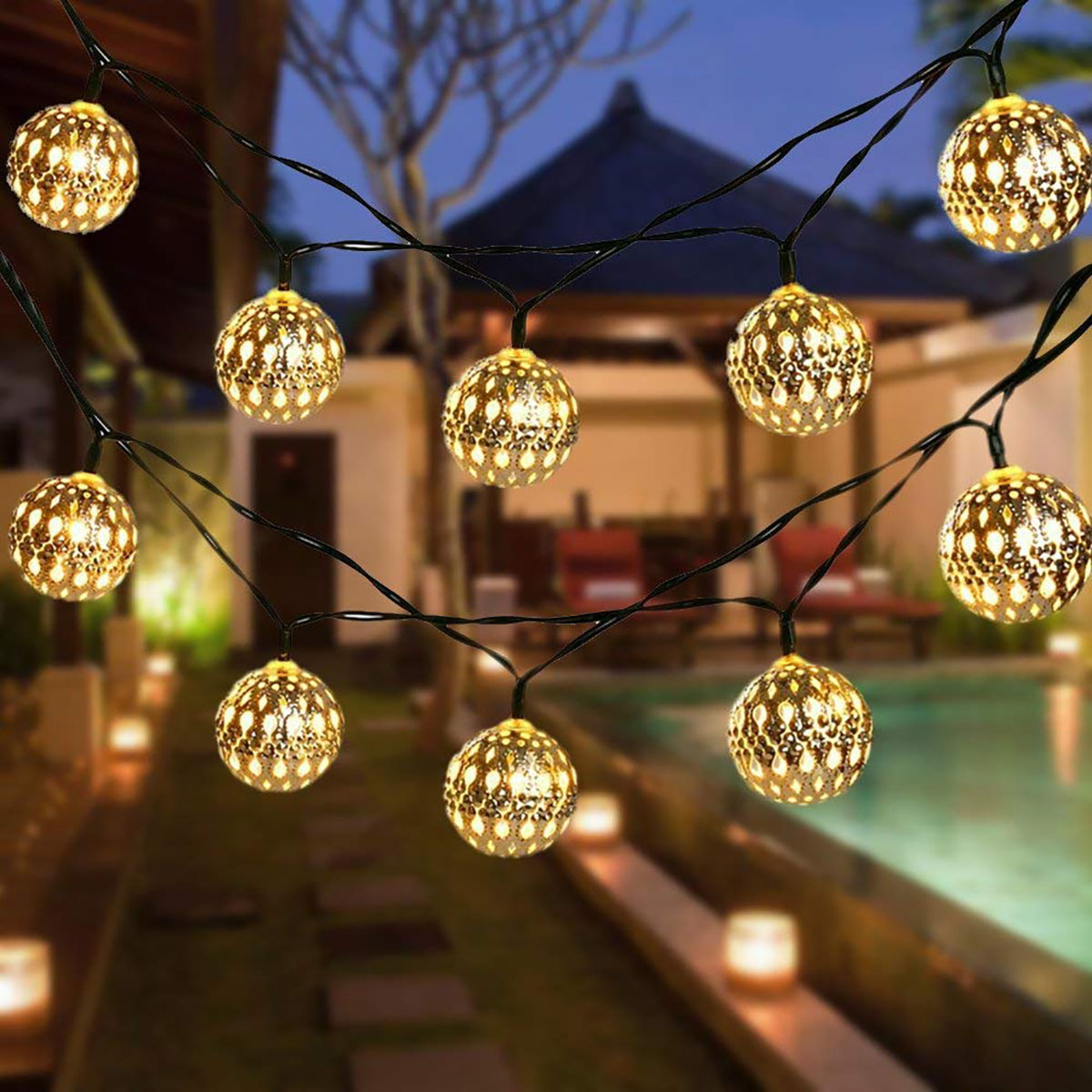 Image of: 20 30 50led Solar Lighting String Outdoor Garden Lights Moroccan Sliver Metal Ball Dream Fairy Lamp For Home Patio Decor Solar Lamps Aliexpress