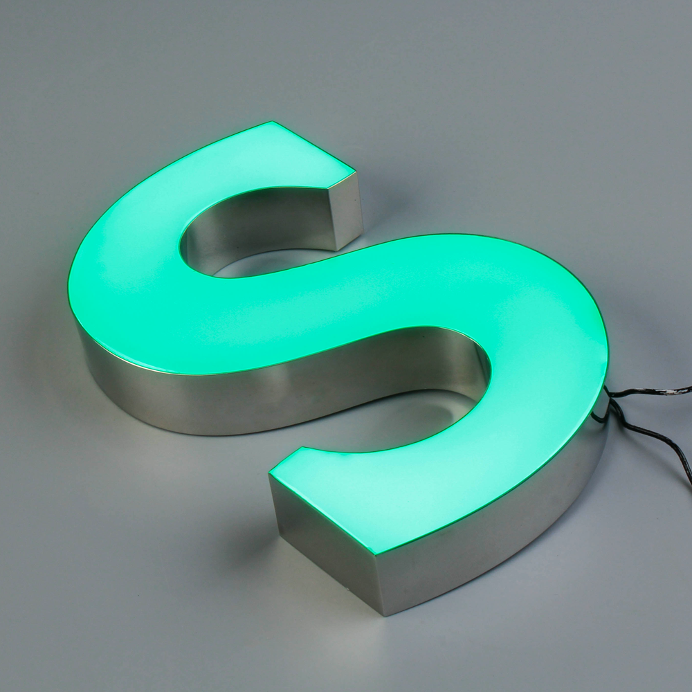 Built up led letters sign SUS return with epoxy resin face led light interior signage