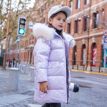Baby girls clothes children Glossy thicker real fur collar down coat hooded warm outwear kids Winter down jackets for girl Y2609