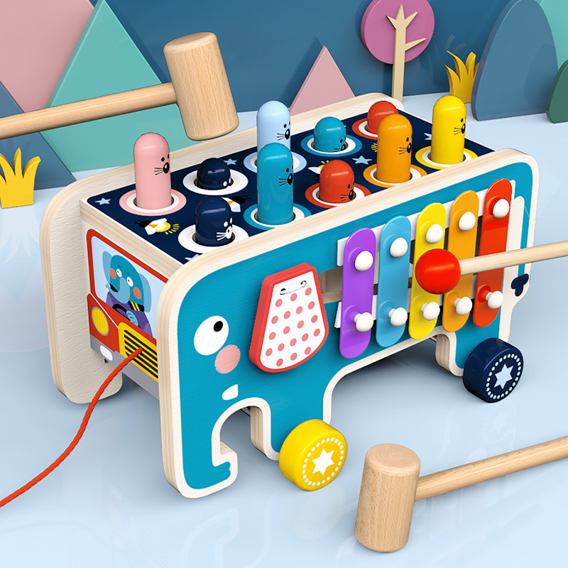Kids Wooden Montessori Whac-A-Mole Toy Multifunctional Beat Slide Early Learning Educational Sensory Bab Children's Gift Toys