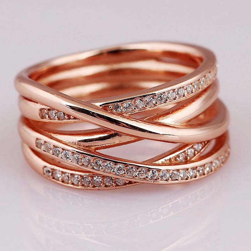 Rose Gold Openwork Eternity Entwined Crystal Rings For Women 925 Sterling Ring Wedding Party Gift Fine Jewelry