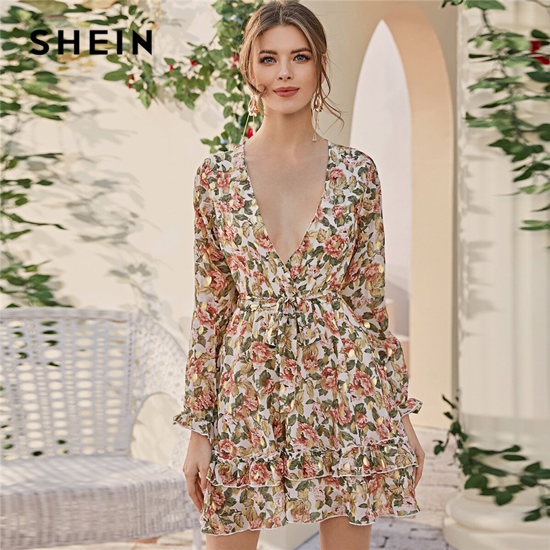 SHEIN Deep V Neck Floral Print Boho Dress With Belt Women Spring Flounce Sleeve High Waist Tiered Layer Hem Frill Short Dresses