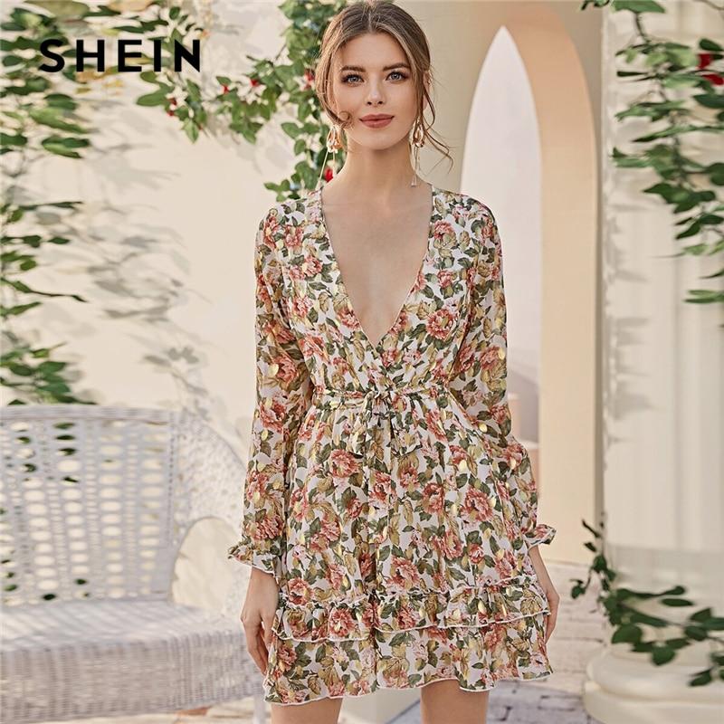 SHEIN Deep V Neck Floral Print Boho Dress With Belt Women Spring Flounce Sleeve High Waist Tiered Layer Hem Frill Short Dresses
