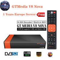 Gtmedia v8 nova DVB-S2 receptor de satélite 1 ano europa servidor atualização v8 super h.265 hd built-in wi-fi hd espanha freesat receptor