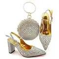 Модные Серебристые туфли Сумочка в комплекте в нигерийском стиле, вечерние рождественские босоножки и клатчи сумка подходящая к комплекту ...