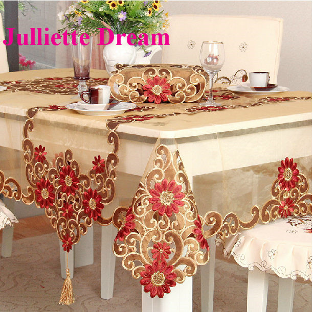 0428 Tablecloth European Style Embroidered Table Cloth Flower Elegant Tablecloths Dining Table/tea Table Carbinet Cover Wedding