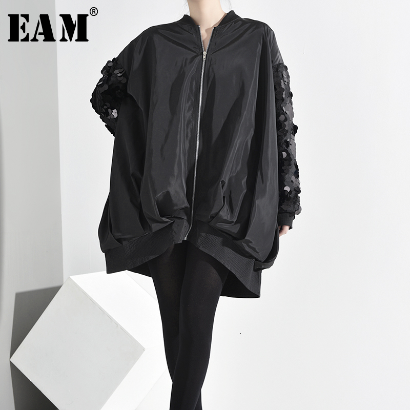 [EAM] Loose Fit Black SequinsThin Oversized Jacket New Stand Collar Long Sleeve Women Coat Fashion Spring Autumn 2020 AS17301