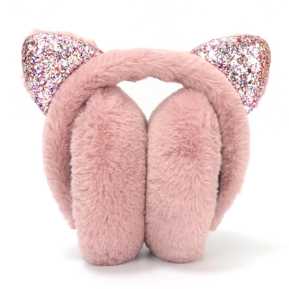 2020 Sequin Foldable Cat Ear Earmuffs Fashion Women Girl Fur Plush Ear Warmer Muffs Glitter Headband Cartoon 3D Earlap