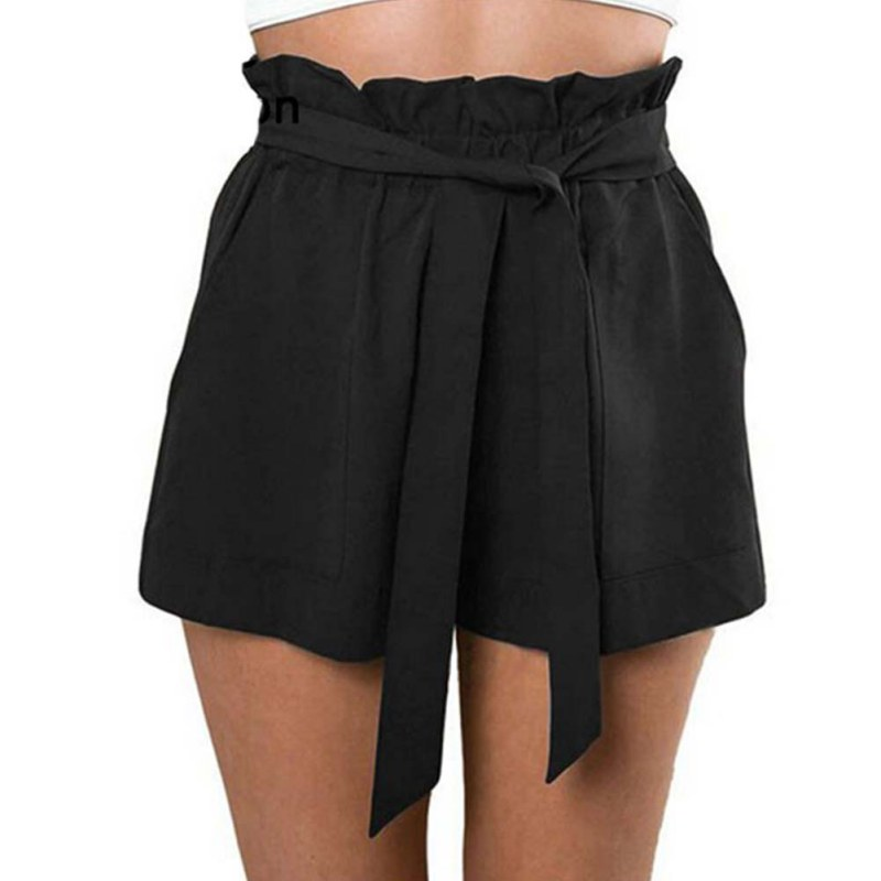 Casual Shorts Women High Waist Loose Shorts Patchwork Fashionable Bow Short Pant Female Ruffle With Belt