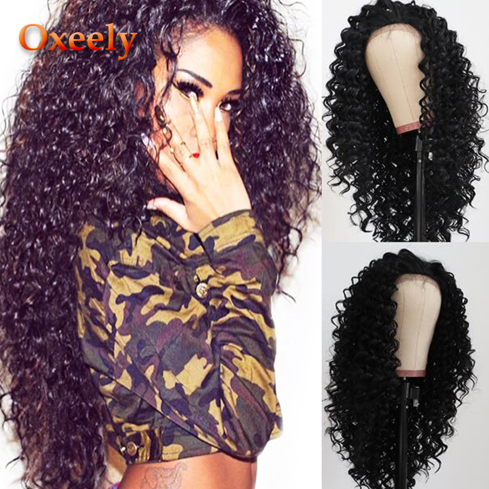 Oxeely Fashion Long Kinky Curly Hair Lace Front Wig For Black Women Curly Synthetic Lace Front Wigs Heat Resistant 180 Density