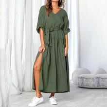 Women Casual Linen Dress Long Sleeve V Neck Split Solid Sashes Fashion Dresses Ladies Loose Maxi 2019