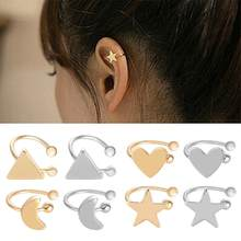Korean Style Heart Star Triangle Moon Ear Cuff Clips-On Earrings Girls Jewelry(China)