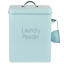 Beautiful Powder Coating Metal Zinc Laundry Boxes Storage With Scoop Blue