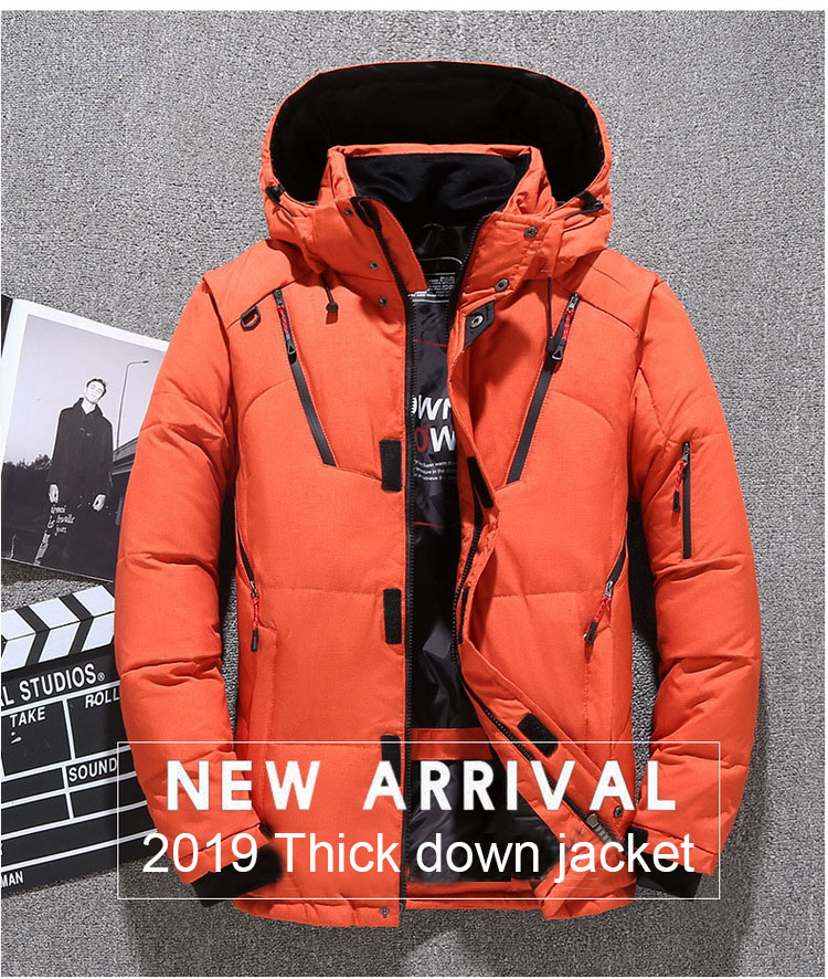 2019 Winter Men's Down Parka Jacket Coat,  Male Short Thick Windproof Hooded Parka Green Black Blue Gray Orange M-3XL