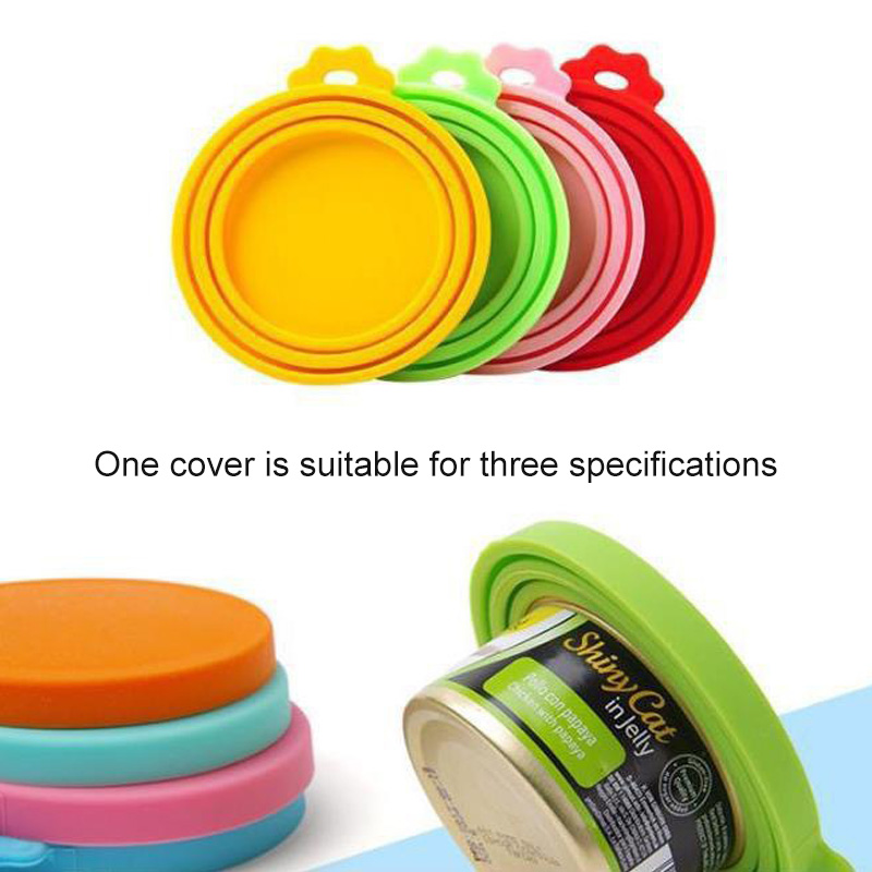 1Pcs 3 In 1 Reusable Food Storage Keep Fresh Tin Cover Cans Cap Pet Can Box Cover Silicone Can Lid Hot Kitchen Supplies Dropship 2