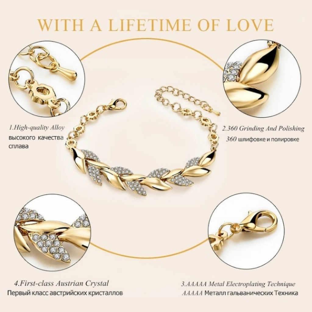 Moda złoty srebrny liść Charm bransoletka dla kobiet luksusowy kryształ łańcuch ręczny bransoletki cyrkonu na wesele biżuteria # ZH