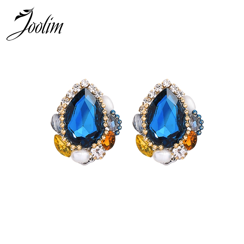 Joolim Navy Blue Crystal Earring High Quality Clips On Design Jewelry Wholesale