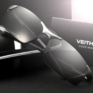 Image 2 - Мужские солнцезащитные очки VEITHDIA, алюминиевые, магниевые, без оправы, UV400, поляризационные, аксессуар для очков, 6591