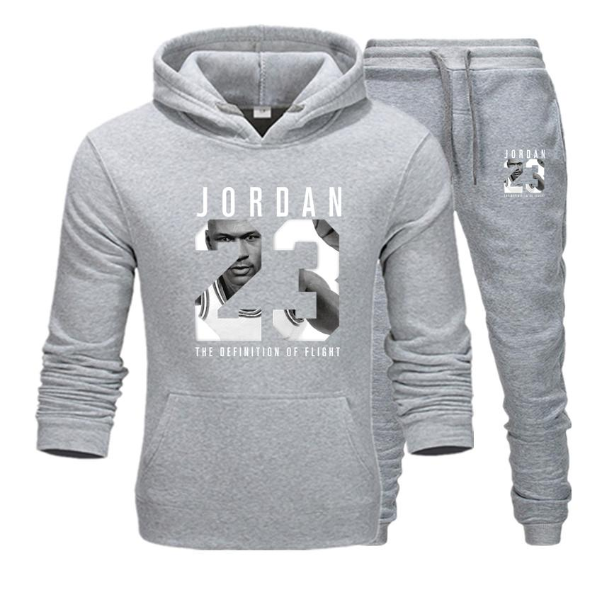 New 2019 Brand Tracksuit Fashion JORDAN 23 Men Sportswear Two Piece Sets Cotton Fleece Thick Hoodie+Pants Sporting Suit Male 3XL