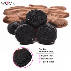Image 5 - WOME Pre colored Brazilian Body Wave Hair Bundles Ombre Human Hair Bundle Honey Blonde 1b/27 1b/30 Two Tone Sew in Non remy Hair