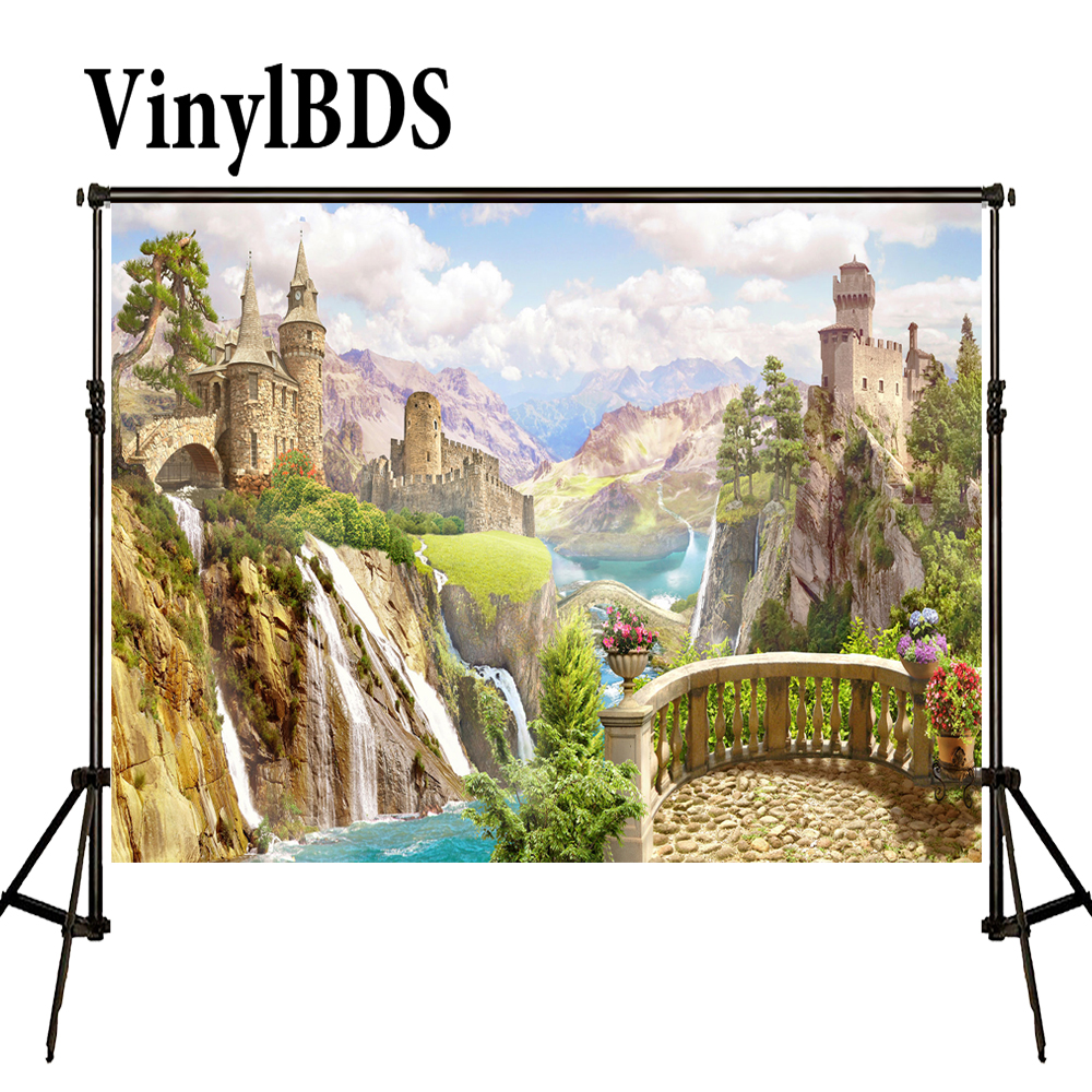 VinylBDS Cartoon Castle Newborn Backdrop Fairy Tale Scenery Background Blue Sky Nature Kids Photography Backdrops for Studio|photography backdrops|studio backdrop|kids photography backdrop - title=