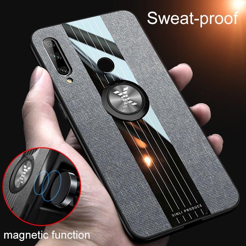 Honor 9X Global Version Case Ring Holder Hard Cover Soft Frame Cloth Fabric Case On Honer 9 X X9 Honor 9X Premium STK-LX1 6.59''
