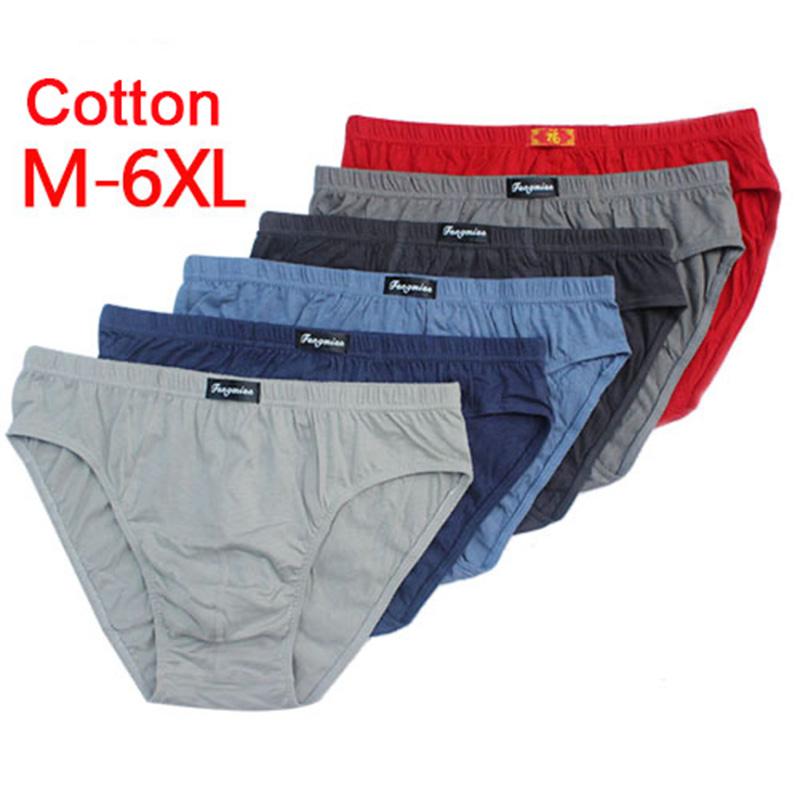 100% Cotton Mens Briefs Plus Size Men Underwear Panties 5XL/6XL Men\'s Breathable Panties Solid Sexy Comfortable Shorts