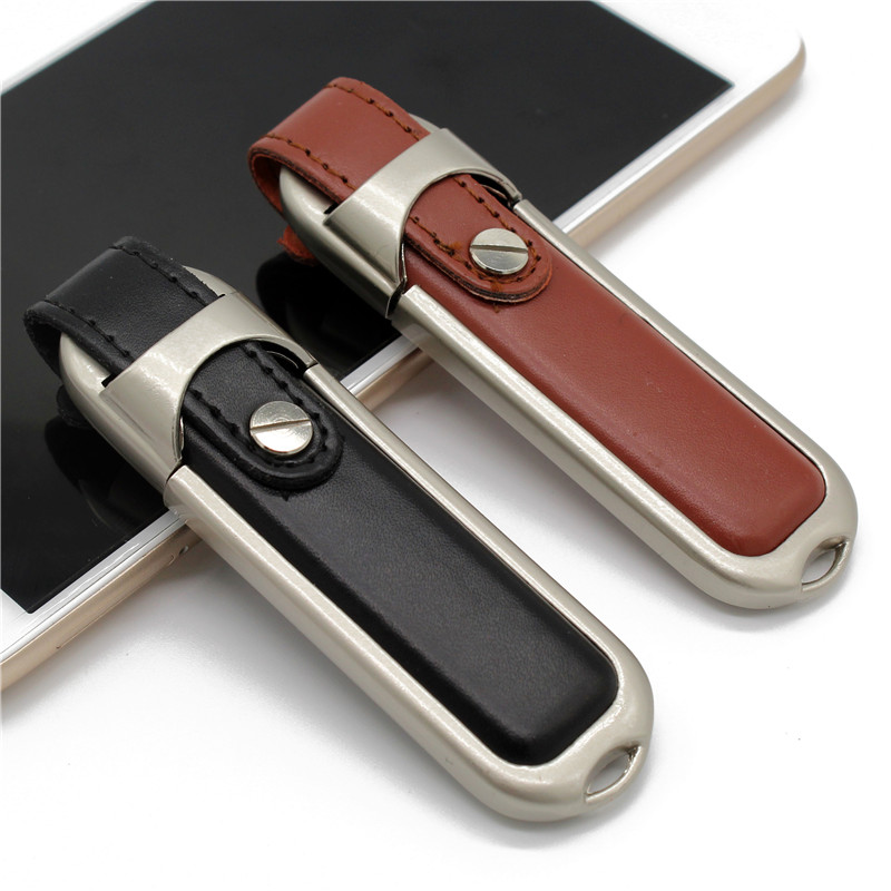 TEXT ME 64GB 100% Real Capacity Brown Black Colour Leather Model Usb Flash Drive Usb 2.0 4GB 8GB 16GB 32GB  Pen Drive Gift