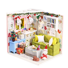 Toy Miniature Christmas Handmade Assembling DIY House Set Model Gift Cottage Furniture Birthday Wooden Educational Children