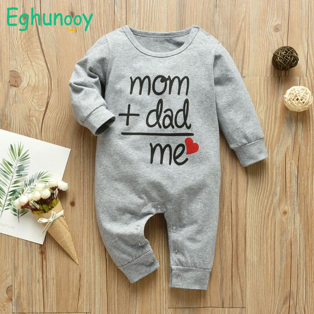 Baby Boys Girls Romper Cotton Long Sleeve Letter Mom Plus Dad Equal Me Jumpsuit Infant Clothing Autumn Newborn Baby Clothes | Happy Baby Mama