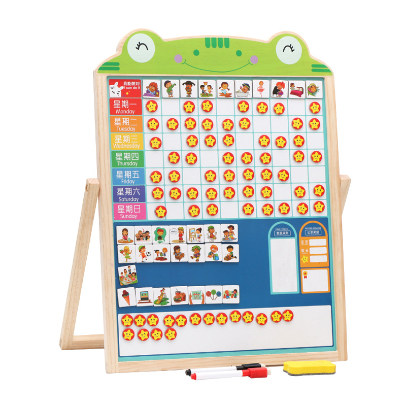 Children Growth Self-Discipline Table Sketchpad Small Red Flowers Magnetic Stickers Baby Nursery Performance Records Reward Adhe