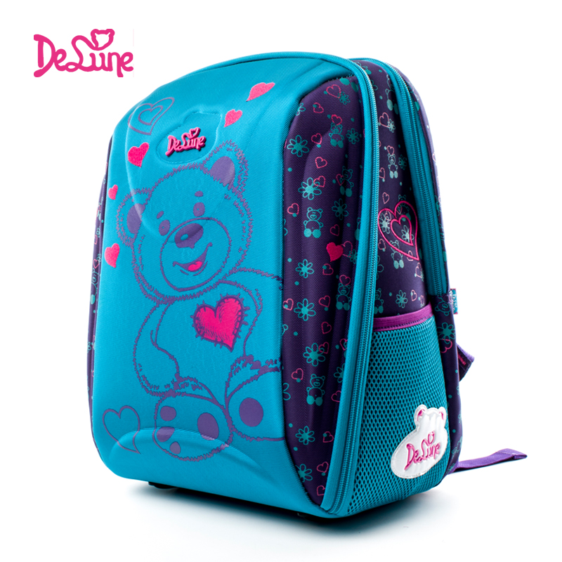 Delune Brand Kids Fashion 3D Cartoon School Bag 1-5 Grade Child 7-102 Orthopedic School Backpack For Girls Boys Mochila Infantil