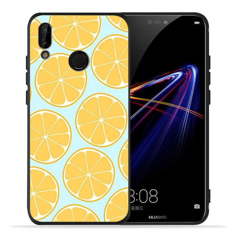 Black Soft Phone Case INS fruit lemon orange For Huawei P9 P10 P20 P30 Lite Plus Pro P smart P smart2