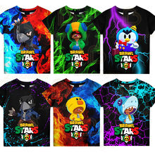 6 To 19 Years Kids Leon t shirts Brawling Spike and Star, Fashion Shooting Game PRIMO 3D Boys Girls Cartoon Tops Teen Clothes
