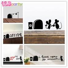 2 piezas amor divertido ratón agujero pared pegatinas para niños habitaciones hogar calcomanías de pared Mural de vinilo arte decoración cartel Vintage ducha de bebé