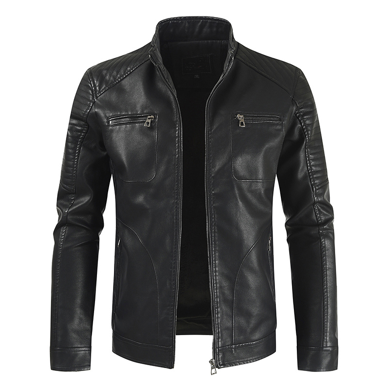 Menne   Men's Leather Jacket 2019 New Foreign Trade Men Casual Leather Jacket Youth Zipper Jacket Pocket Trend Pu Leather Clothe