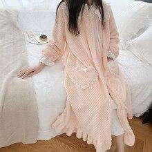 Flanelowy szlafrok kobieta zima długa suknia szaty dla kobiet romantyczna koszula nocna szata urocza bielizna nocna zimowy szlafrok