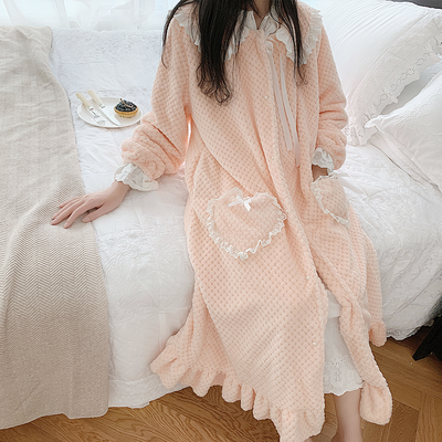 Flannel Robe Woman Winter Long Robe  Robes For Women Romantic Nightgown Robe Sweet Sleepwear Winter  Bathrobe