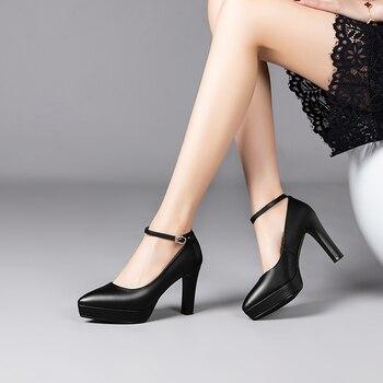 Elegant Women Office Shoes Black Ankle Strap Round Toe Platform High Heels Comfortable Work Shoes Dress Shoes Womens Size 34-39