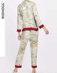 Image 2 - Summer Turn down Collar Casual Long sleeved Trousers Pijama Mujer Loungewear Pajamas for Women Sexy Pyjamas Silk Print Sleepwear