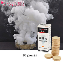 10 unids/caja pastillas de pastel de humo blanco muestra la bomba de humo de Halloween para fotografía