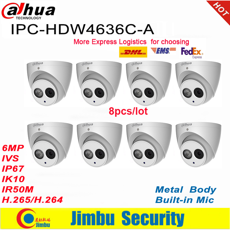 Dahua  IP Camer 6MP  IPC-HDW4636C-A  8pcs/ lot Metal body H.265 Built-in MIC IR50m IP67 IK10 Dome Camera Not POE Smart Detection