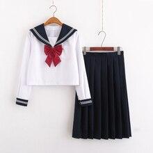 UPHYD зимний костюм моряка школьная форма для студентов для подростков Косплей JK японский Seifuku белая рубашка+ длинная юбка+ бант