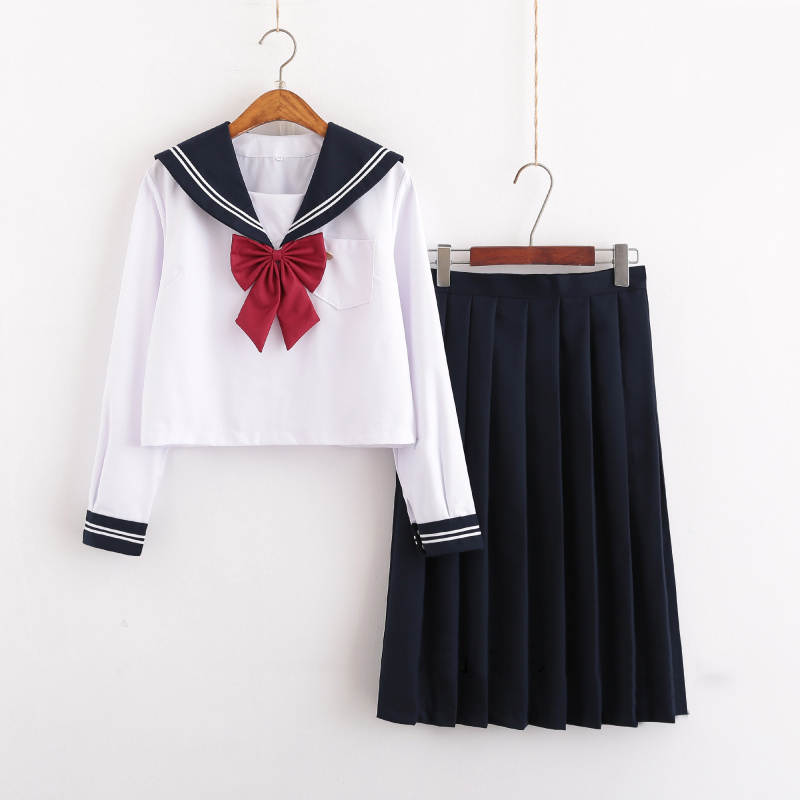 UPHYD Winter Sailor Suit Students School Uniform For Teens Cosplay JK Japanese Seifuku White Shirt+Long Skirt+Bow