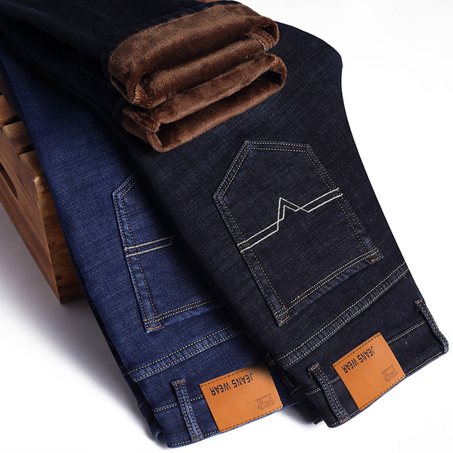 Winter Thermal Warm Flannel Stretch Jeans Mens Winter Quality Famous Brand Fleece Pants Men Straight Flocking Trousers Jean Male 1