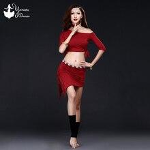 2020 New Brand Belly Practice Costume Modal High Quality Bellydance Skirt Hip Scarf Short Black Half Sleeve Tassel Tops Sexy