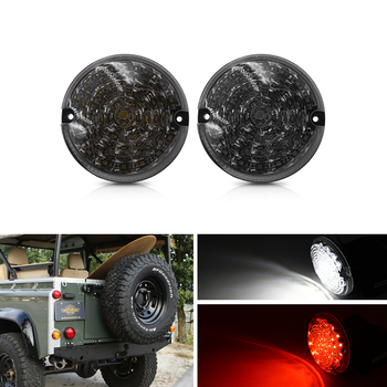 Smoked For Land Rover Defender 01-16 Defnder Cabrio 90-16 95mm Round Led Rear White Reverse/Backup Red Fog Light Kits image